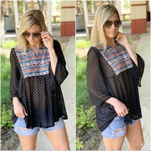 Black Southwest Embroidered Lace Tunic